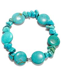 Macy's | Blue Manufactured Turquoise Chip Stretch Bracelet In Sterling Silver (65 Ct. T.w.) | Lyst