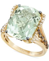 Le Vian | Green Amethyst (9-3/4 Ct. T.w.), White Diamond (1/8 Ct. T.w.) And Chocolate Diamond (3/8 Ct. T.w.) Ring In 14k Gold | Lyst
