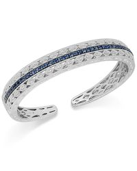 Macy's   Blue Sapphire (1-5/8 Ct. T.w.) And Diamond (1/10 Ct. T.w.) Bangle Bracelet In Sterling Silver   Lyst