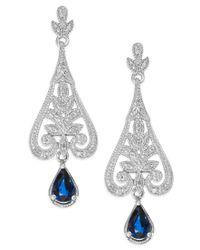 Macy's - Multicolor Sapphire (1-1/10 Ct. T.w.) And Diamond (1/8 Ct. T.w.) Drop Earrings In Sterling Silver - Lyst