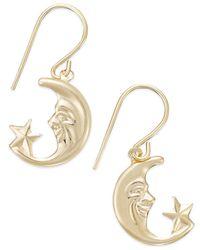 Macy's - Metallic Moon And Star Drop Earrings In 10k Gold - Lyst