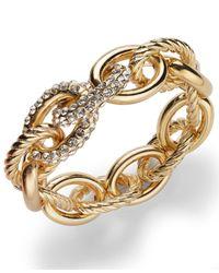 INC International Concepts | Metallic Rose Gold-tone Pavé Link Stretch Bracelet | Lyst