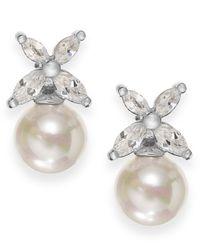Majorica | Metallic Sterling Silver Organic Man-made Pearl Butterfly Stud Earrings | Lyst