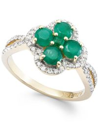 Macy's | Multicolor Emerald (2 Ct. T.w.) And Diamond (1/4 Ct. T.w.) Clover Ring In 14k Gold | Lyst