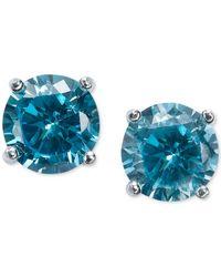 Giani Bernini | Blue Cubic Zirconia Stud Earrings In Sterling Silver (2 Ct. T.w.) | Lyst