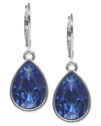 Nine West | Metallic Silver-tone Faceted Teardrop Earrings | Lyst