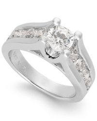 Macy's - Multicolor Certified Diamond Channel Engagement Ring In 14k White Gold (2 Ct. T.w.) - Lyst