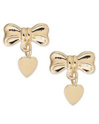 Macy's | Metallic Bow And Heart Drop Earrings In 14k Gold | Lyst