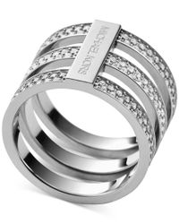 Michael Kors | Metallic Clear Pave Tri-stack Ring | Lyst