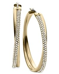 Michael Kors | Metallic Clear Pave Crisscross Hoop Earrings | Lyst