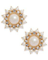 Charter Club - Metallic Gold-tone Imitation Pearl & Crystal Starburst Stud Earrings - Lyst