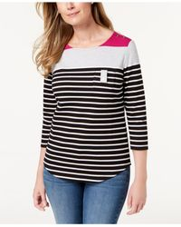 Karen Scott - Black Colorblocked Button-shoulder Top, Created For Macy's - Lyst