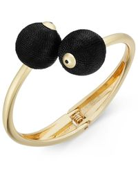 INC International Concepts | Black Gold-tone Thread-wrapped Ball Bypass Bracelet | Lyst