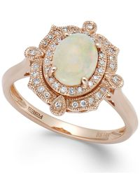 Effy Collection - Metallic Aurora By Effy Opal (5/8 Ct. T.w.) And Diamond (1/6 Ct. T.w.) Oval Ring In 14k Rose Gold - Lyst