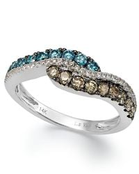 Le Vian | Multicolor Chocolate, Blue And White Diamond Ring In 14k White Gold (3/4 Ct. T.w.) | Lyst