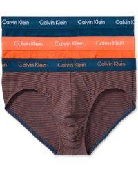 Calvin Klein - Orange Men's Cotton Stretch Hip Briefs 3-pack Nu2661 for Men - Lyst