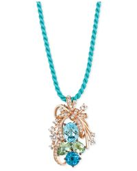 Le Vian | Blue Topaz, Green Quartz And White Topaz Cluster Pendant Necklace In 14k Rose Gold (10-1/5 Ct. T.w.) | Lyst