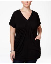 INC International Concepts | Black Plus Size V-neck Tunic | Lyst