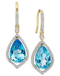 Macy's - Blue Topaz (6-5/8 Ct. T.w.) And Diamond (1/6 Ct. T.w) Earrings In 14k Gold - Lyst