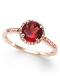 Macy's   Red Garnet (1-3/8 Ct. T.w.) And Diamond (1/8 Ct. T.w.) Ring In 14k Rose Gold   Lyst