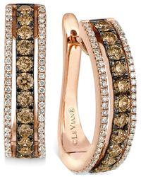 Le Vian | Brown Chocolate And White Diamond Hoop Earrings In 14k Rose Gold (9/10 Ct. T.w.) | Lyst