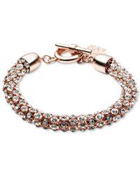 Anne Klein | Multicolor Rose Gold-tone Crystal Pave Tubular Toggle Bracelet | Lyst