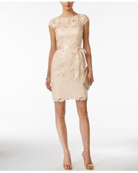 Adrianna Papell | Brown Lace Cap-sleeve Illusion Sheath Dress | Lyst