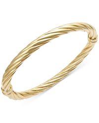 Macy's | Metallic Twist Hinge Bangle Bracelet In 14k Gold | Lyst