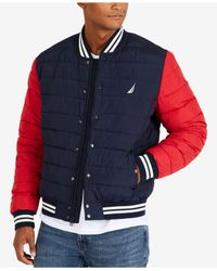 Nautica - Blue Colorblocked Down Bomber Jacket for Men - Lyst