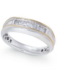 Macy's - Metallic Men's Diamond Two-tone Five-stone Ring (1/4 Ct. T.w.) In 10k Gold & White Gold - Lyst