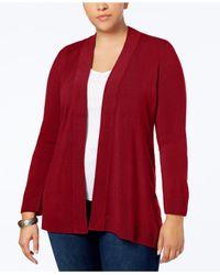 Karen Scott Red Plus Size Open-front Cardigan, Created For Macy's