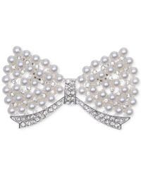 Jones New York | Metallic Silver-tone Acrylic Pearl Bow Pin | Lyst