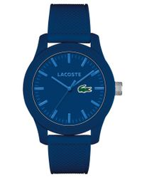 Lacoste   Men's L.12.12 Blue Silicone Strap Watch 43mm 2010765 for Men   Lyst