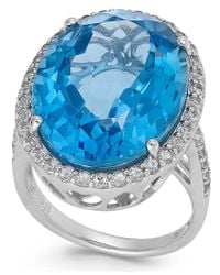 Macy's | Blue And White Topaz Ring In Sterling Silver (21 Ct. T.w.) | Lyst