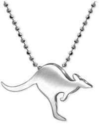 Alex Woo - Metallic Little Cities By Kangaroo Pendant Necklace In Sterling Silver - Lyst
