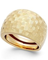 Macy's | Metallic Woven Dome Ring In 14k Gold | Lyst