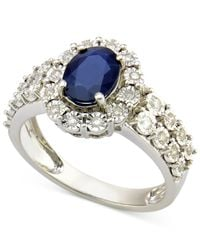 Macy's - Sapphire (1-1/10 Ct. T.w.) And Diamond (1/4 Ct. T.w.) Ring In 14k White Gold - Lyst