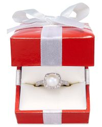 Macy's | Multicolor Cultured Freshwater Pearl (8mm) And Diamond (1/4 Ct. T.w.) Ring In 14k White Gold | Lyst