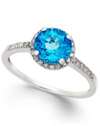 Macy's | Blue Topaz (1-1/2 Ct. T.w.) And Diamond (1/8 Ct. T.w.) Ring In 14k White Gold | Lyst