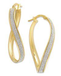 Macy's - Metallic Glitter Wavy Hoop Earrings In 14k Gold - Lyst