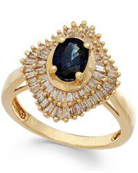 Macy's | Metallic Sapphire (9/10 Ct. T.w.) And Diamond (1/2 Ct. T.w.) Ring In 14k Gold | Lyst