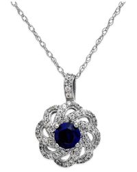 Macy's - Blue Sapphire (5/8 Ct. T.w.) And Diamond (1/3 Ct. T.w.) Knot Pendant Necklace In 14k White Gold - Lyst