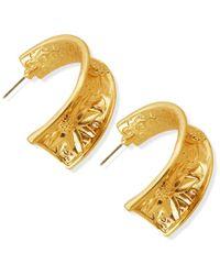 Guess | Metallic Gold-tone Flower Hoop Earrings | Lyst