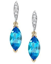 Macy's - Blue Topaz (2-9/10 Ct. T.w.) And Diamond Accent Earrings In 14k Gold - Lyst