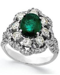 Macy's - Green Emerald (1-3/4 Ct. T.w.) And Diamond (1-1/5 Ct. T.w.) Ring In 14k White Gold - Lyst