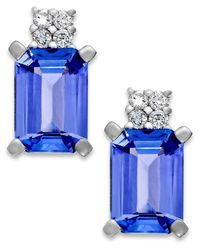 Macy's | Blue Tanzanite (1-9/10 Ct. T.w.) And Diamond Accent Stud Earrings In 14k White Gold | Lyst