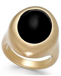 Signature Gold | Natural Onyx Teardrop Ring (2-1/2 Ct. T.w.) In 14k Gold Over Resin | Lyst