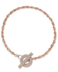 INC International Concepts | Metallic Rose Gold-tone Crystal Toggle Chain Necklace | Lyst