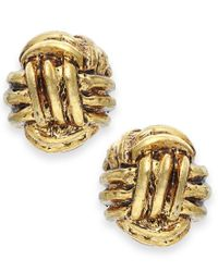 Lauren by Ralph Lauren Metallic Gold-tone Monkey Fist Knot Stud Earrings