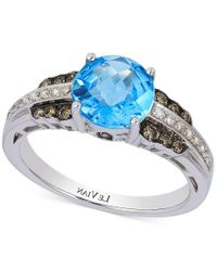 Le Vian - Metallic Petite Collection Blue Topaz (2-1/10 Ct. T.w.) And Diamond (1/4 Ct. T.w.) Ring In 14k White Gold - Lyst